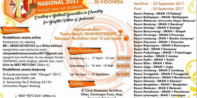 Olimpiade Kimia Nasional 2017 Tingkat SMA/Sederajat